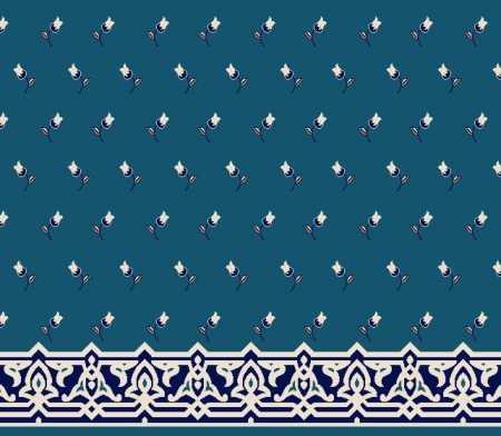 Myfloor S123-Koyu Mavi Saflı Cami Halısı