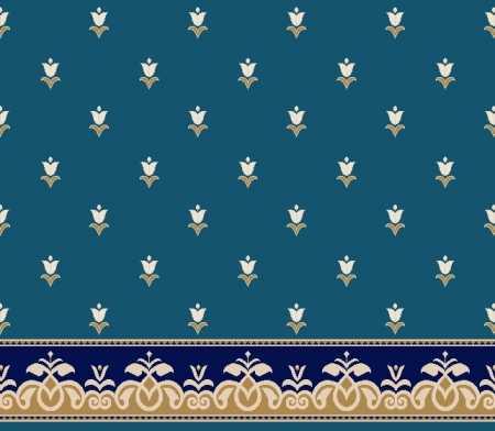 Myfloor S129-Koyu Mavi Saflı Cami Halısı