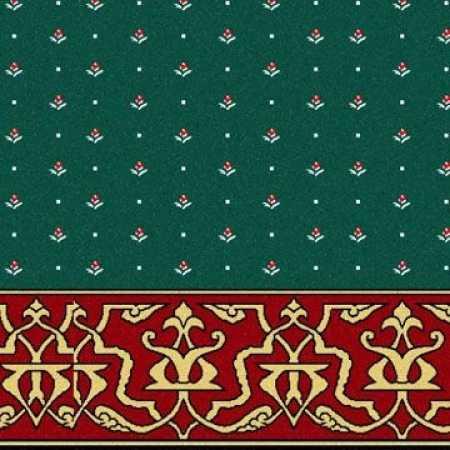 Bordo Yeşil Desenli Saflı Cami Halısı