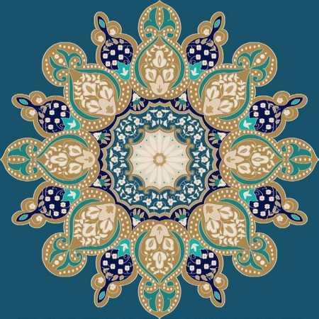 Myfloor G110-Koyu Mavi Göbekli Cami Halısı