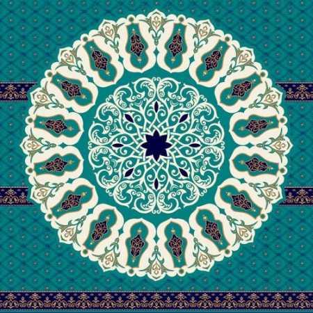 Turkuaz Mavi Göbekli Akrilik Cami Halısı 04