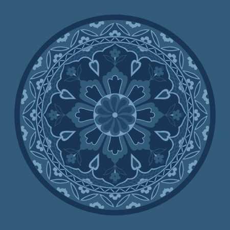 Çelebizade Lale Göbekli Cami Halısı Antik Mavi