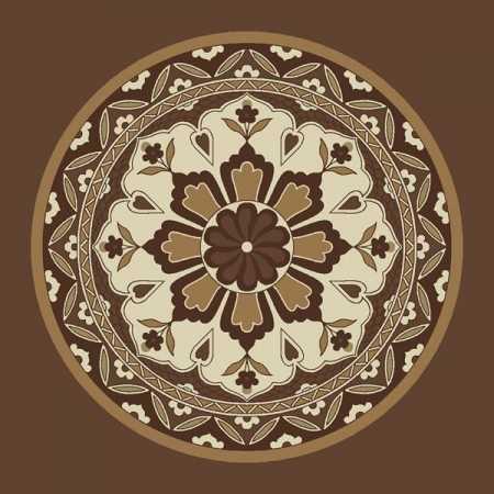 Çelebizade Lale Göbekli Cami Halısı Kahverengi