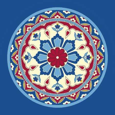 Çelebizade Lale Göbekli Cami Halısı Mavi