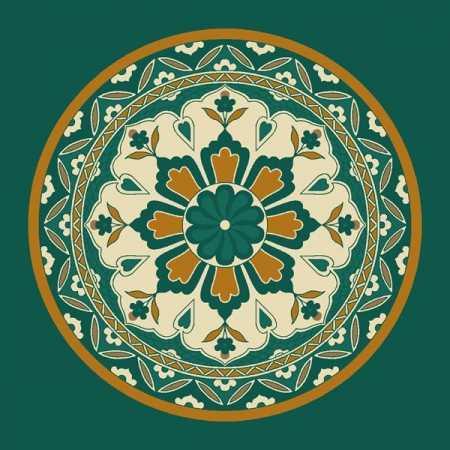 Çelebizade Lale Göbekli Cami Halısı Yeşil