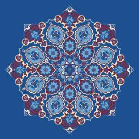 Çelebizade Gonca Göbekli Cami Halısı Mavi
