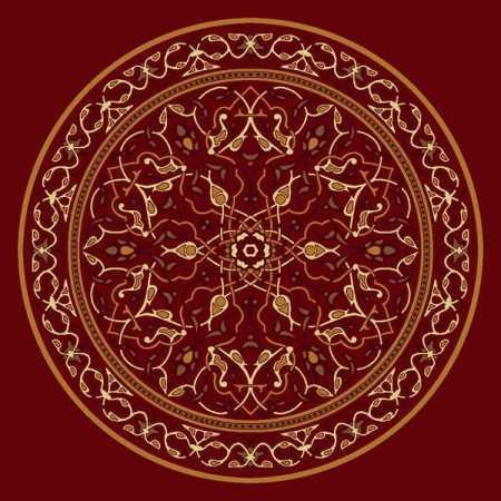 Çelebizade Petunya Göbekli Cami Halısı Kırmızı
