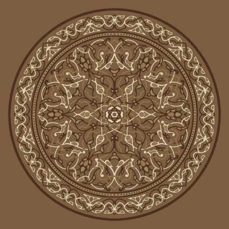 Çelebizade Petunya Göbekli Cami Halısı Kahverengi