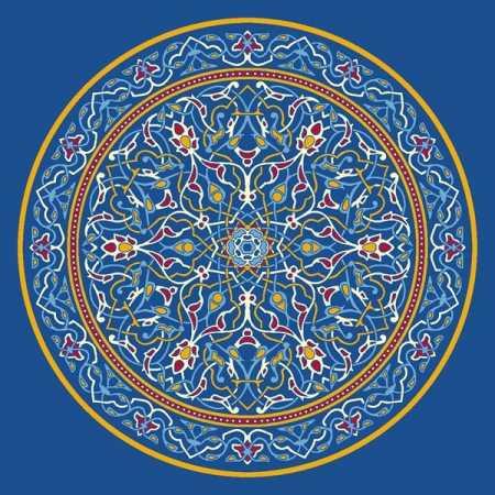 Çelebizade Petunya Göbekli Cami Halısı Mavi