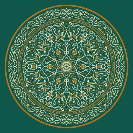 Çelebizade Petunya Göbekli Cami Halısı Yeşil