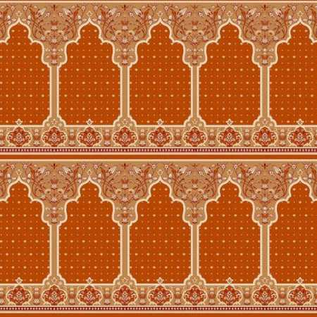 321 Turuncu Seccadeli Mihraplı Akrilik Cami Halısı